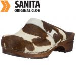 Sanita Holz Clogs offen /Brown Cow